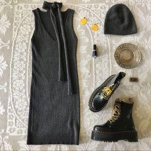 Design Lab Lord & Taylor grey rib knit midi dress